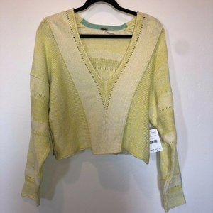 Free People Long Sleeve Cropped Sweater Yellow Sm